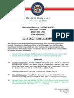 2018 Elections Calendar Miaasssippi