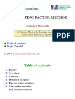 Ordinary Differential Equations Integrating Factor