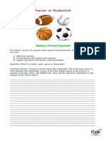 Lesson 10 - Formal Argument - Soccer or Basketball