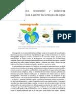 Agua Limpia, Bioetanol y Plásticos Biodegradables (1)