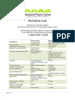 Antidotes 2 List 2011