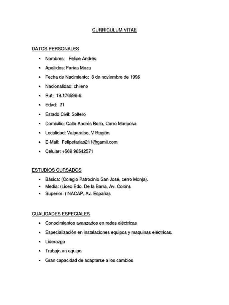 Plantilla Curriculum Vitae