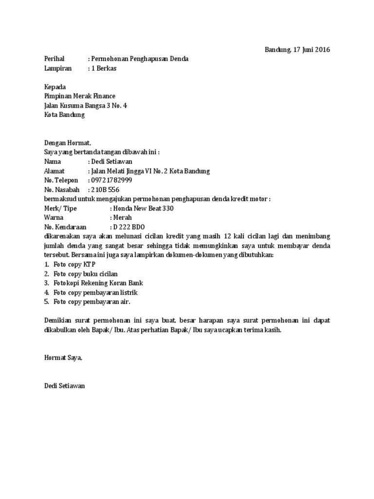 Contoh Surat Permohonan Penghapusan Denda Kredit Docx