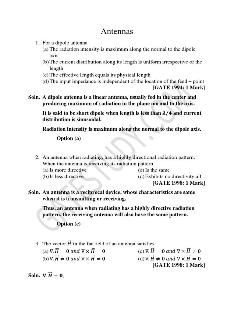 Antennas pdf | Antenna (Radio) | Electromagnetic Radiation