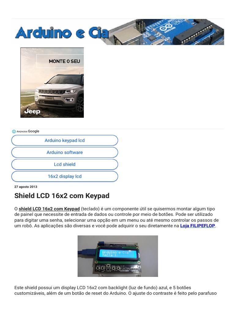 Shield LCD 16x2 com Keypad - Arduino e Cia pdf | Arduino