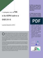 Posição Do OPSA ADRA Sobre a Proposta Do OGE 2015