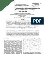 La producción de tesis de pregrado en el Departamento de Química de la Facultad de Ciencias de la Universidad de Los Andes.