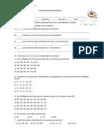 Evaluacion de Matematica Para 6º Basico