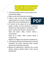 Requisitos Para Las Matriculas 2018-2019