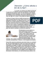 cómo afecta el TDAH a la educacion de tu hijo