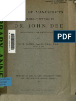 lists of manuscripts owned by John Dee