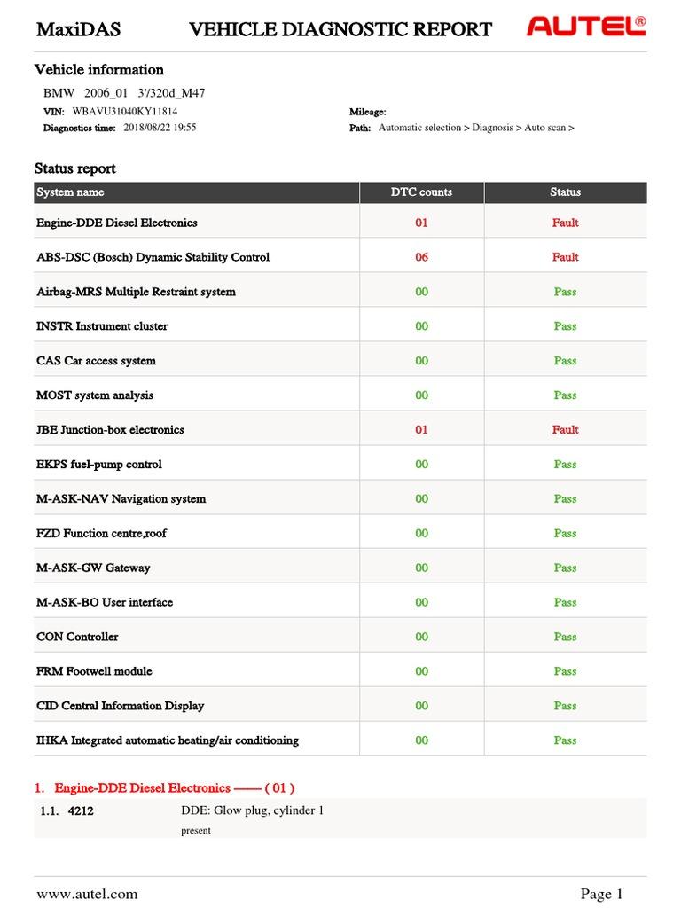 E91 320D scan report | Car | Automobiles