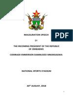 Mnangagwa Inauguration Speech