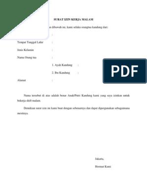 Contoh Surat Izin Kerja Malam Dari Orang Tua Contoh Seputar Surat