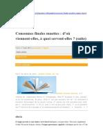 Consonnes Finales Muettes 1