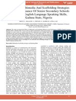 Effects of Multimedia and Scaffolding Strategies on the Perfomance of Senior Secondary Schools Students in English Language Speaking Skills Kaduna State Nigeria