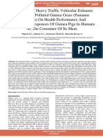 Evaluation of Heavy Traffic Vehicular Exhausts Roads Side Polluted Guinea Grass Paniaum Maximum on Health Performance and Pathological Responses of Guinea Pigs in Humans as the Consumer of Its Meat