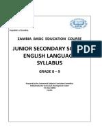 Junior Secondary School English Language Syllabus Grades 8 9