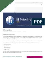 IB Tutoring in Qatar