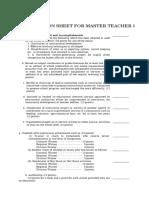 Evaluation Sheet for Master Teacher