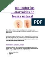 Cómo Tratar Las Hemorroides de Forma Natural