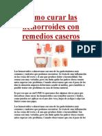 Cómo Curar Las Hemorroides Con Remedios Caseros
