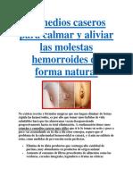 Remedios Caseros Para Calmar y Aliviar Las Molestas Hemorroides de Forma Natural