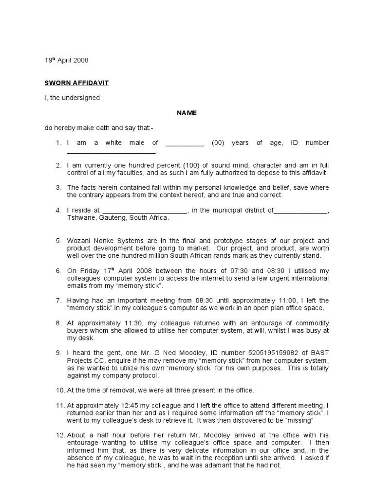 Affidavit Template  Affidavits Template