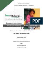 Síntesis Educativa Semanal de Michoacán al 27 de agosto de 2018