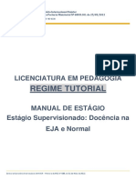 Regime Tutorial Manual Estágio Docência Eja e Normal 2018