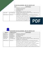 Calendario de Evaluaciones Agosto