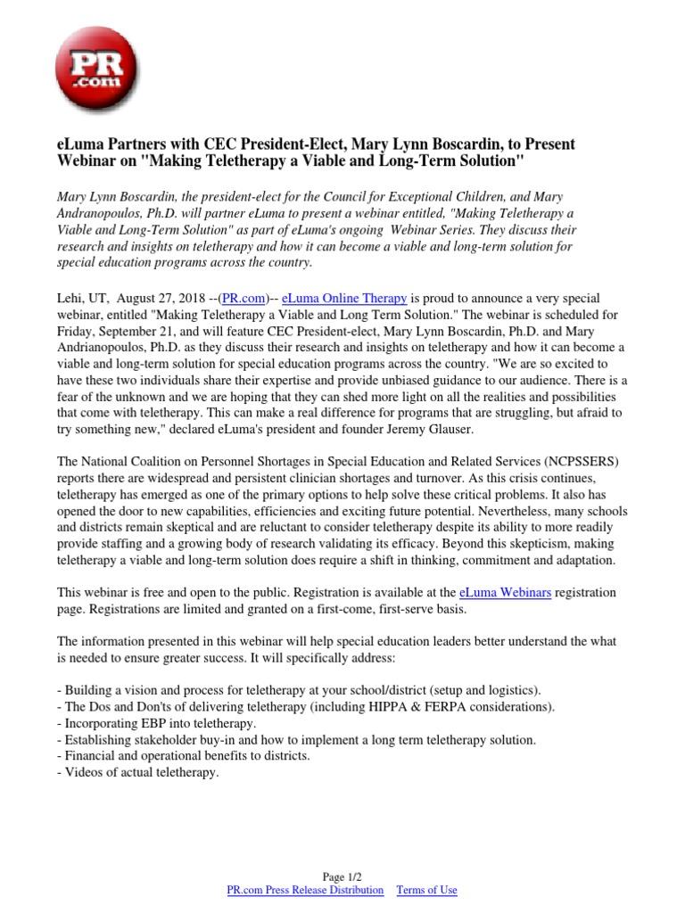 eLuma Partners with CEC President-Elect, Mary Lynn Boscardin