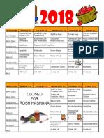 September 2018 Menu