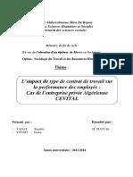 L'Impact Du Type de Contrat de Travail Sur La Performance Des Employés