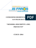 Memoria Descriptiva de Residencial Gold San Francisco