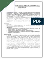 Ley Racismo y Toda Forma Discriminacion Bolivia