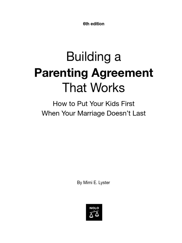 Nolo Press Building A Parenting Agreement That Works 6th