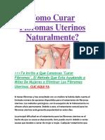 Como Curar Fibromas Uterinos Naturalmente