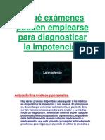 Qué Exámenes Pueden Emplearse Para Diagnosticar La Impotencia