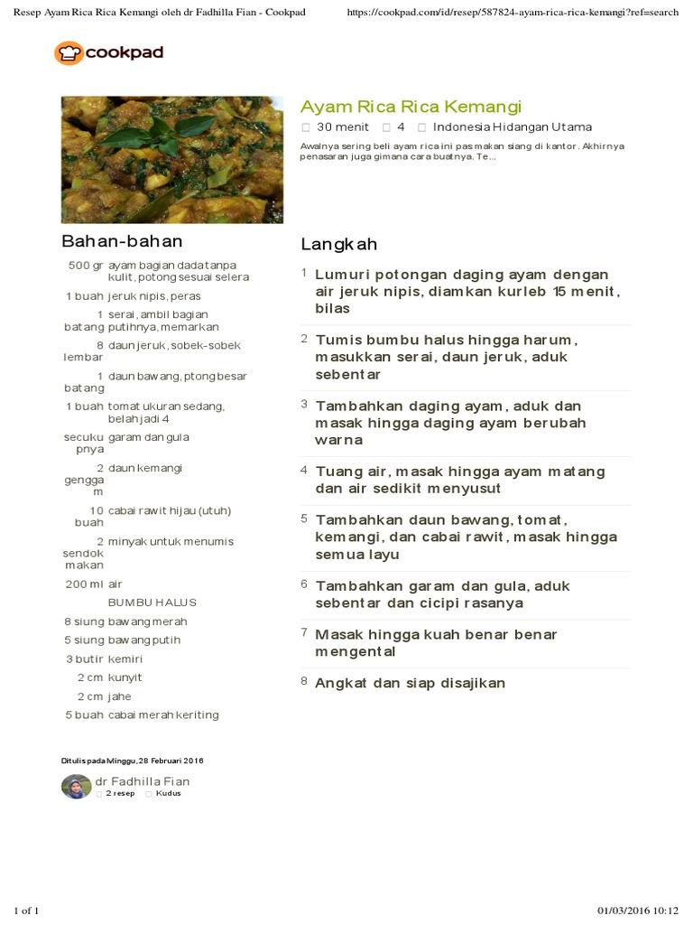 resep masak rica rica ayam kuah masak memasak Resepi Rendang Kerang Jawa Enak dan Mudah