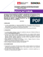 Convocatoria Becas Estado de Sonora 2018-2019