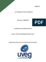 Importancia de Las Areas Funcionales de La Empresa. Alejandro Pacheco