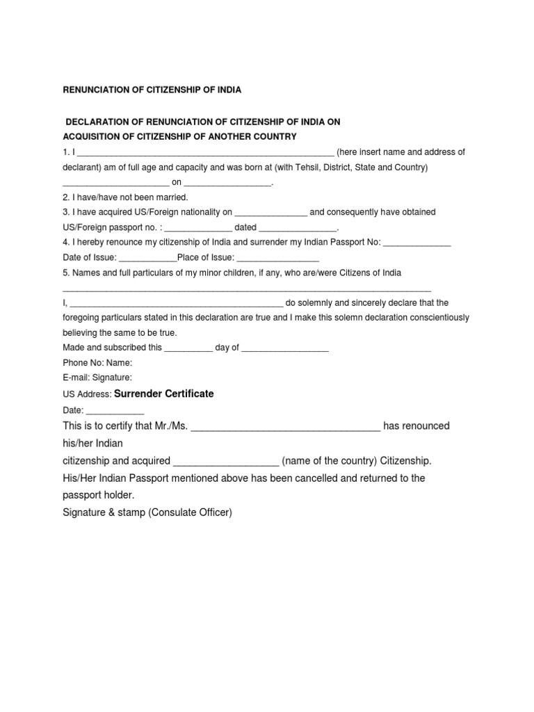 Renunciation Of Citizenship Of India Money Order Mail