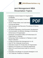 Project Management MBA Dissertation Topics