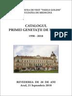 DR.LEOVEANU T.IONUT HORIA-CATALOGUL PRIMEI GENERATII DE MEDICI VASILE GOLDIS ARAD 1998