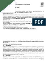 Reglamento Interno de Trabajo Del Personal de La Caja