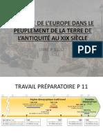LA PLACE DE L'EUROPE DANS LE PEUPLEMENT DE LA TERRE DE L'ANTIQUITÉ AU XIX SIÈCLE