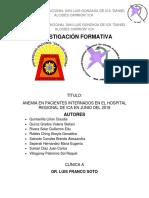 Anemia en Pacientes Internados en El Hospital Regional de Ica en Junio Del 2018