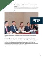 24-08-2018 - Dispuestos Alcaldes Electos a Trabajar de La Mano Con La Gobernadora Pavlovich - Tribuna