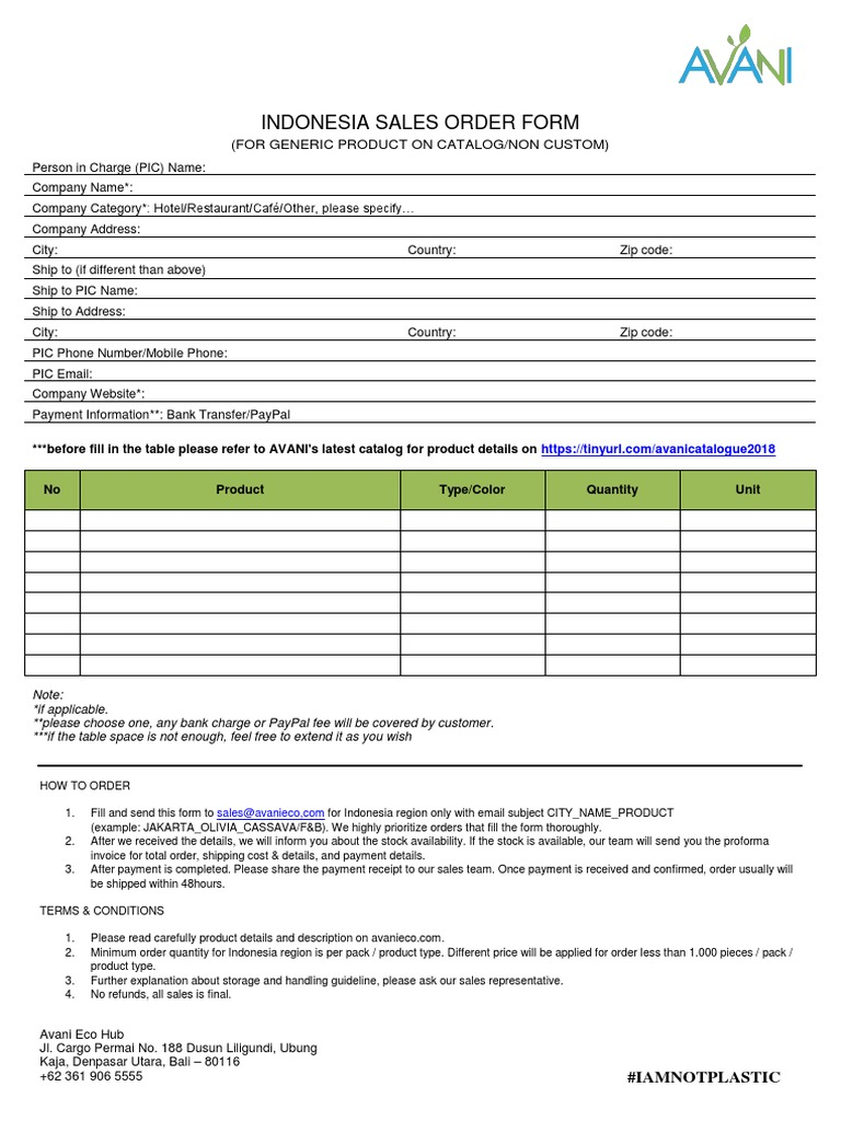 Indonesia Sales Order Form docx   Service Industries   Services